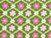 Baumwollstoff Blumen Geflecht, khaki