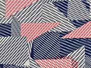 Viskosejersey mit Leinen Striche, dunkelblau rot natur