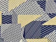 Viskosejersey mit Leinen Striche, dunkelblau ocker natur