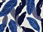 Viskosejersey mit Leinen Blätter, dunkelblau natur
