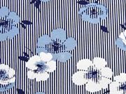 Viskosejersey Streifen Blumen, hellblau dunkelblau weiß