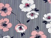 Viskosejersey Streifen Blumen, altrosa dunkelblau weiß