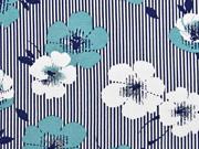Viskosejersey Streifen Blumen, altmint dunkelblau weiß