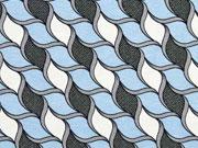 Viskosejersey grafische Seile, hellblau grau