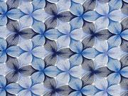 RESTSTÜCK 70 cm Viskosejersey Blumen, blau