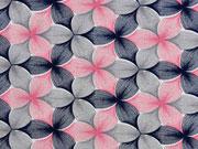 Viskosejersey Blumen, rosa dunkelblau grau