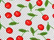 RESTSTÜCK 42 cm Viskosejersey Kirschen Pünktchen, rot weiß