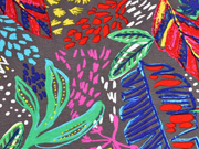 Viskosejersey tropische Blätter, bunt grau