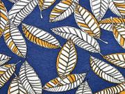 Viskosejersey Blätter, ocker blau