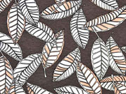 Viskosejersey Blätter, nude dunkel taupe