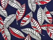 RESTSTÜCK 120 cm Viskosejersey Blätter, rot dunkelblau