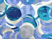 T-Shirtstoff Kreise, grünpetrol blau cremeweiß