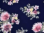 Viskose Blumen Dahlien, dunkelblau