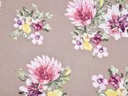 RESTSTÜCK 190 cm Viskose Blumen Dahlien, dunkelbeige