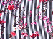 Viskose Streifen Blumenzweige, dunkelblau weiß