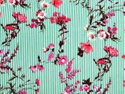 Viskose Streifen Blumenzweige, grün weiß