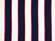 Viskose Stoff Blockstreifen, rot weiß dunkelblau