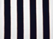 Viskose Stoff Blockstreifen, beige weiß dunkelblau