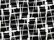 Viskosejersey grafisches Muster, weiß schwarz