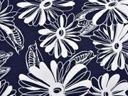 Viskosejersey große Blumen, weiß dunkelblau
