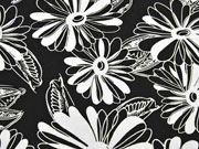 Viskosejersey große Blumen, weiß schwarz
