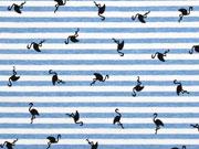 Jersey Streifen Flamingos angeraut, jeansblau meliert cremeweiß