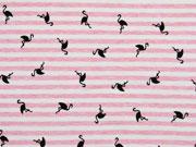Jersey Streifen Flamingos angeraut, rosa meliert cremeweiß