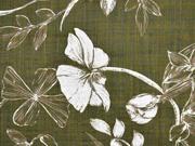 RESTSTÜCK 47 cm Baumwolle Viskosestoff Blumenblätter, khaki