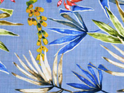 Baumwolle Viskose tropische Blätter, blau
