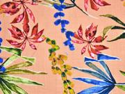 Baumwolle Viskose tropische Blätter, apricot