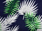 Baumwolle Viskose Palmblätter, dunkelblau