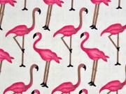 Baumwolle Viskose Flamingos, pink cremeweiß