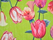 Blusenstoff große Tulpen Callas Crinkle, kiwigrün