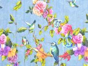 RESTSTÜCK 68 cm Blusenstoff Vögel Rosen Crinkle, bunt jeansblau