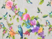 Blusenstoff Vögel Rosen Crinkle, bunt grau