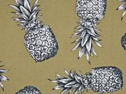 Blusenstoff große Ananas Leinenlook, khaki