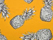 Blusenstoff große Ananas Leinenlook, ocker