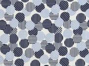 elastischer Blusenstoff gestreifte Punkte, hellblau dunkelblau weiß