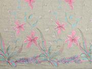 Leinen Viskose Blumen Stickerei Bordüre, Pastelltöne beige