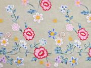 Leinen Viskose Blumen Stickerei Bordüre, bunt beige