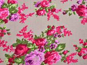 Viskose Leinen Rosen, rosa taupe