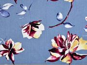 Viskose Leinen große Blumen Magnolien, rauchblau