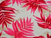 Viskose Leinen Palmblätter, rot cremeweiß