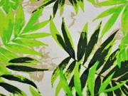 Viskose Leinen Palmblätter, hellgrün cremeweiß