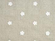 Leinen Viskose gestickte Blumen Applikationen, weiß beige