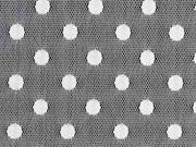 RESTSTÜCK 58 cm Tüll Punkte elastisch, cremeweiß