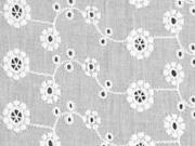 bestickte Baumwolle Batist Blumen und Ranken, weiß