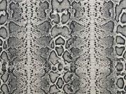 Leinenlook Dekostoff Schlangenmuster, grau schwarz natur