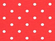 Jersey Punkte 5 mm, weiß rot