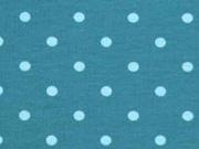 Jersey Punkte 5 mm, hellblau petrol